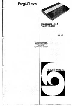 Bang and Olufsen Beogram CDX service manual PDF
