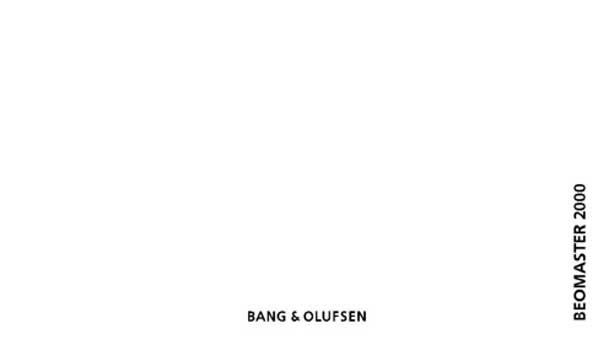 Bang and Olufsen Beomaster 2000 owners manual PDF