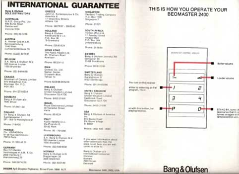 Bang and Olufsen Beomaster 2400 owners manual PDF