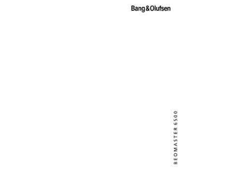 Bang and Olufsen Beomaster 6500 owners manual PDF