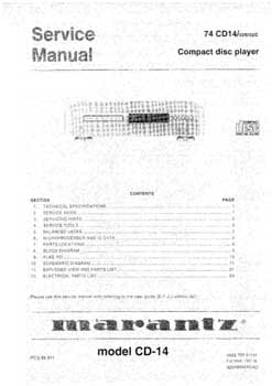 Marantz CD-14 service manual PDF