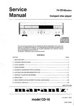 Marantz CD-16 service manual PDF