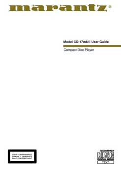 Marantz CD-17 mkIII owners manual PDF