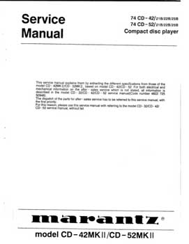 Marantz CD-42Mk2 service manual PDF