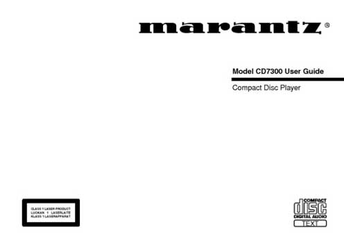 Marantz CD-7300 owners manual PDF