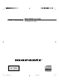 Marantz CDR-500 owners manual PDF