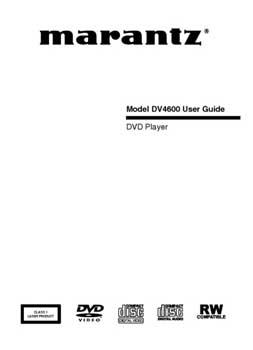 Marantz DV-4600 owners manual PDF