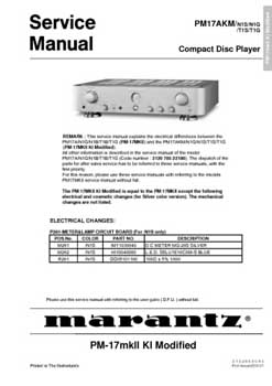 Marantz PM-17-AKM service manual PDF