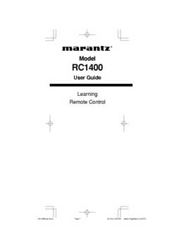 Marantz RC-1400 owners manual PDF