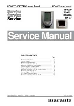 Marantz RC-9200 service manual PDF