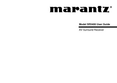 Marantz SR-5400 owners manual PDF