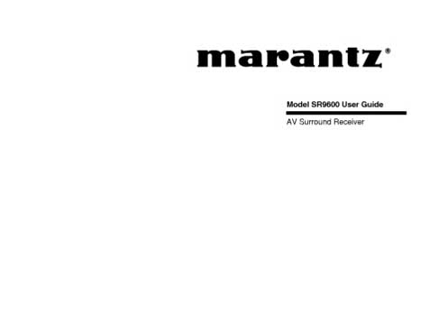 Marantz SR-9600 owners manual PDF