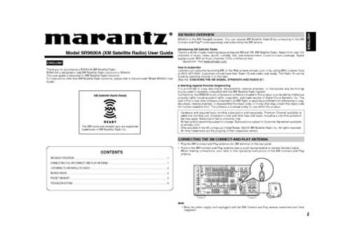 Marantz SR-9600-XM owners manual PDF