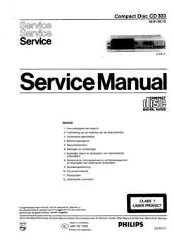 Philips cd-303 service manual PDF (Dutch)
