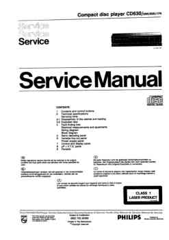 Philips cd-630 service manual PDF