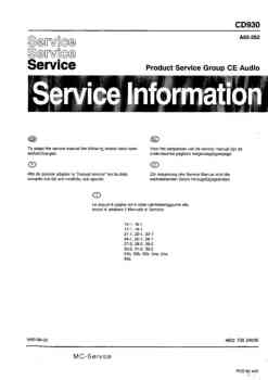 Philips cd-930 service manual PDF