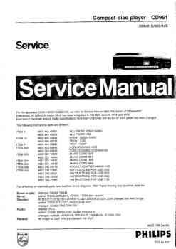 Philips cd-951 service manual PDF