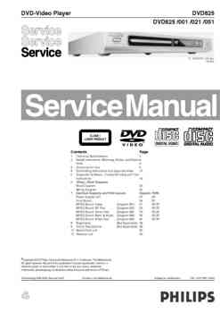 Philips dvd-625 service manual PDF